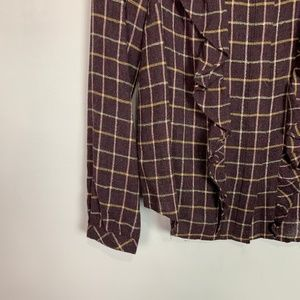 Madewell Tops - Madewell | plaid ruffle front long sleeve top S